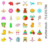 painting icons set. cartoon... | Shutterstock .eps vector #711151786