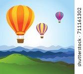 hot air balloons on the blue sky | Shutterstock .eps vector #711161302