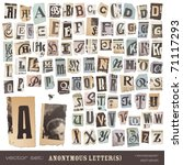 Stock vector vector set alphabet based on vintage newspaper cutouts ideal for your threatening letters 71117293