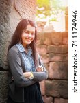 a young woman at stone castle ... | Shutterstock . vector #711174946