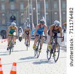 Small photo of STOCKHOLM - AUG 26, 2017: Group of female triathlete cyclists in the Women's ITU World Triathlon series event August 26, 2017 in Stockholm, Sweden