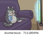 cat sat down on the couch and... | Shutterstock .eps vector #711180496