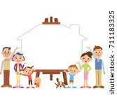 three generation family campus... | Shutterstock .eps vector #711183325