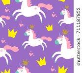 cute princess seamless pattern... | Shutterstock .eps vector #711187852