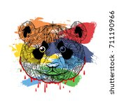 ornament face of panda in lines ... | Shutterstock .eps vector #711190966
