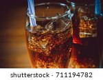 beautiful cold drink of cola... | Shutterstock . vector #711194782