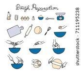 dough preparation icons. doodle ...   Shutterstock .eps vector #711195238