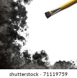 brush and Abstract watercolor hand painted background - stock photo