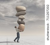 young man up a pile of stones... | Shutterstock . vector #711207202