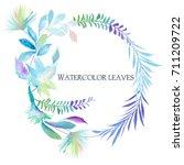 watercolor leaves | Shutterstock . vector #711209722