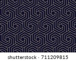 Stock vector abstract geometric pattern with lines rhombuses a seamless background dark blue and gold texture 711209815