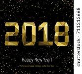 golden glow 2018 new year... | Shutterstock .eps vector #711212668