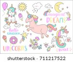 vector set with stickers  pins  ... | Shutterstock .eps vector #711217522