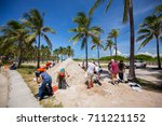 usa. florida. miami beach ... | Shutterstock . vector #711221152
