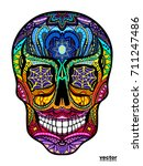 tattoo colorful skull  black... | Shutterstock .eps vector #711247486