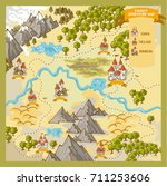 fantasy advernture map elements ... | Shutterstock .eps vector #711253606
