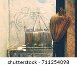 witch's magical broom halloween ... | Shutterstock . vector #711254098