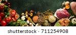 an assortment of healthy ... | Shutterstock . vector #711254908