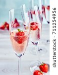 pink champagne with fresh ripe... | Shutterstock . vector #711254956