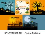 halloween poster design set | Shutterstock .eps vector #711256612