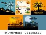 halloween poster design set   Shutterstock .eps vector #711256612