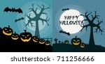halloween poster design set | Shutterstock .eps vector #711256666