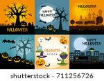halloween poster design set | Shutterstock .eps vector #711256726