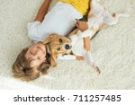 child with dog | Shutterstock . vector #711257485