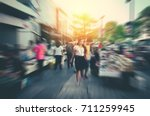 blur of people and tourists...   Shutterstock . vector #711259945
