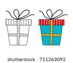 decorative gift box with a... | Shutterstock .eps vector #711263092