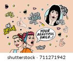 smiling girls with stickers set ... | Shutterstock .eps vector #711271942