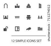 set of 12 architecture icons