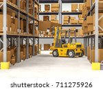warehouse and yellow forklift... | Shutterstock . vector #711275926