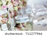 beautiful wedding table... | Shutterstock . vector #711277966