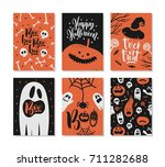 set of halloween greeting card... | Shutterstock .eps vector #711282688