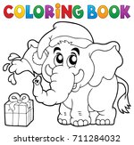 coloring book christmas... | Shutterstock .eps vector #711284032