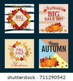 autumn sale banner collection.... | Shutterstock .eps vector #711290542