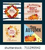 autumn sale banner collection....   Shutterstock .eps vector #711290542
