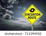 hurricane evacuation road sign... | Shutterstock . vector #711294532