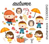 autumn vector set | Shutterstock .eps vector #711300892