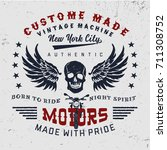 vintage motorcycle  typography. ... | Shutterstock .eps vector #711308752