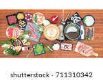 shabu suki japanese hot pot set ... | Shutterstock . vector #711310342