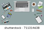 top view of table working and... | Shutterstock .eps vector #711314638