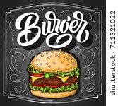 burger hand lettering with... | Shutterstock .eps vector #711321022