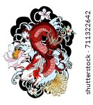 colorful japanese dragon and... | Shutterstock .eps vector #711322642
