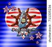 columbus day  3d  blue... | Shutterstock . vector #711335236