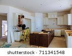 Stock photo blind corner cabinet island drawers and counter cabinets installed 711341548