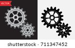vector gears of metallic silver ... | Shutterstock .eps vector #711347452