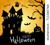 vector halloween card. vector... | Shutterstock .eps vector #711360766