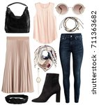 a set of fashionable clothes... | Shutterstock . vector #711363682
